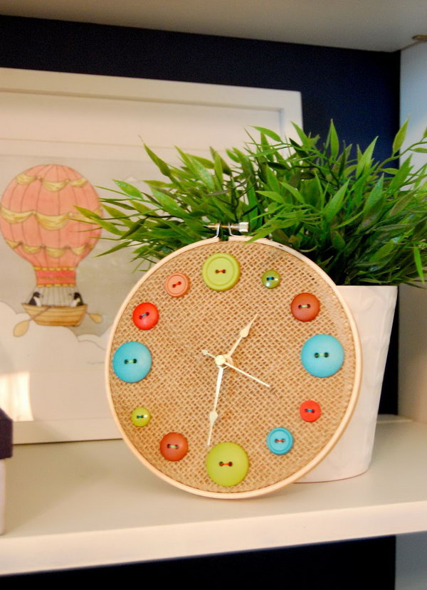 DIY Button Clock. A great idea for repurposing old buttons. This would make a great addition to a kid's room or a craft room.