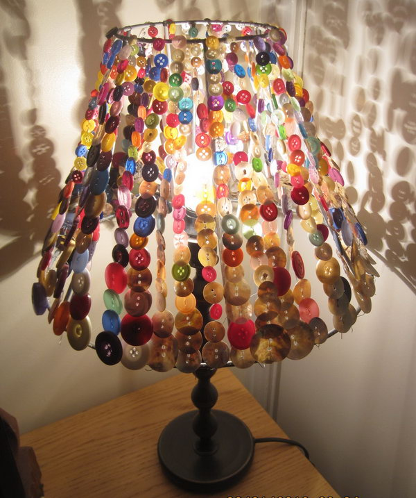 Button Lampshade. Creative way to embellish your lampshade with colorful buttons. Cute idea for a girl's room or craft room.