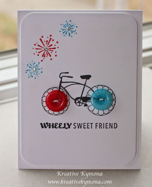 Button Bike Greeting Card. A simple and sweet card idea for your best friends.