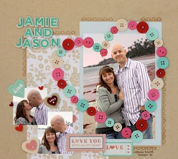 Button Heart Scrapbook. Romantic decor and gift idea for your boyfriend.