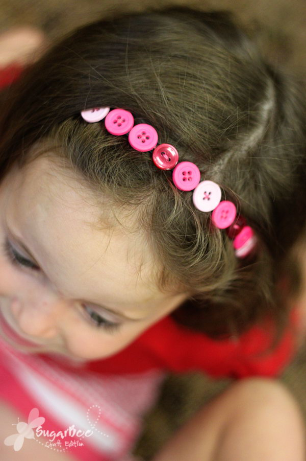 Button Headband. A great project for girls to teach them about sewing on buttons. They turned out simply adorable and kids' smiling faces display their pride.
