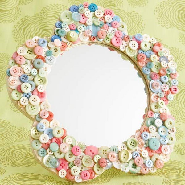 Button Mirror Frame. Use your collection of buttons to make a unique frame for a mirror. It's an easy and crafty project that allows you to personalize your home.