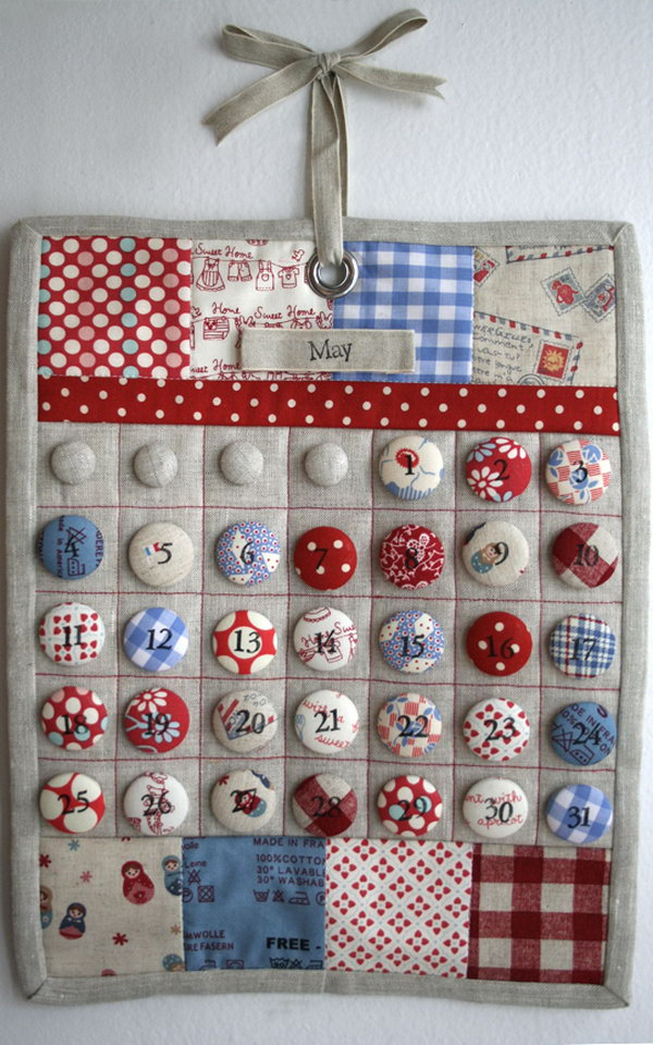 Calendar Made From Fabric Covered Buttons. What a fantastic craft idea.