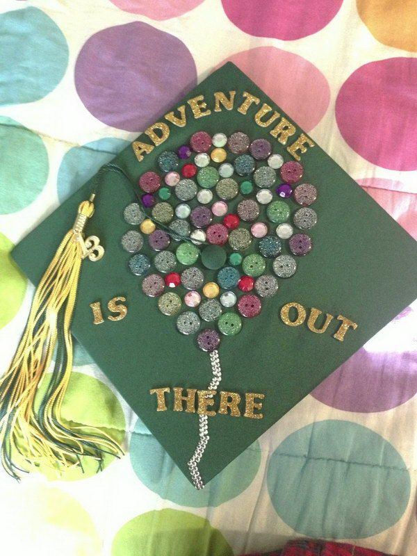 Graduation Cap Decorated with Button Balloon.
