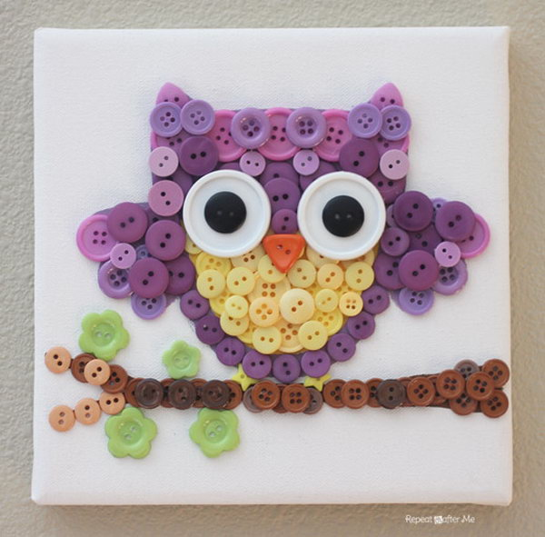Owl Craft Made From Buttons.