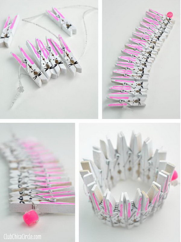 Easter Bunny Bracelet Made from Clothespins. Paint the wood clothespins and use glittery clear stretchy cord to weave and connect the clothespin bunnies together. It's an easy craft idea to do with your kids.