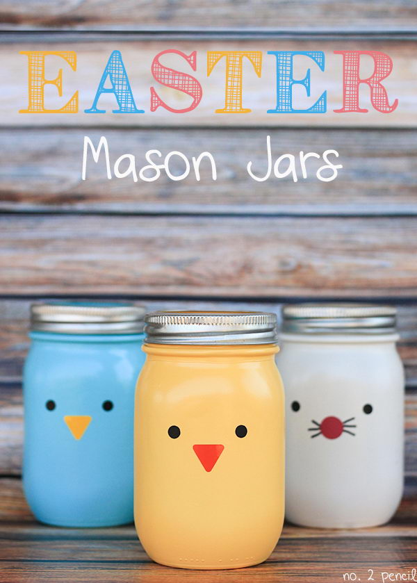 Easter Mason Jars Craft. Spray paint your jars and add sweet little faces on them. These crafts are easy to make and they would be perfect as vases or candy jars.