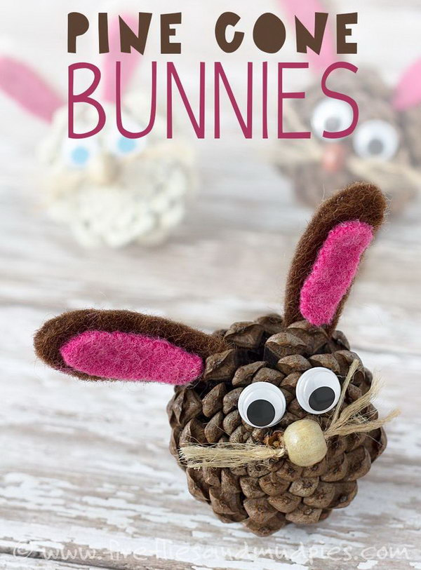 Pine Cone Easter Bunnies. Pine cones have an amazing texture, are free, and can be adapted for Easter crafts. It would be a cute idea to incorporate it into an kids' imaginative play or hang it on the Easter Egg Tree.