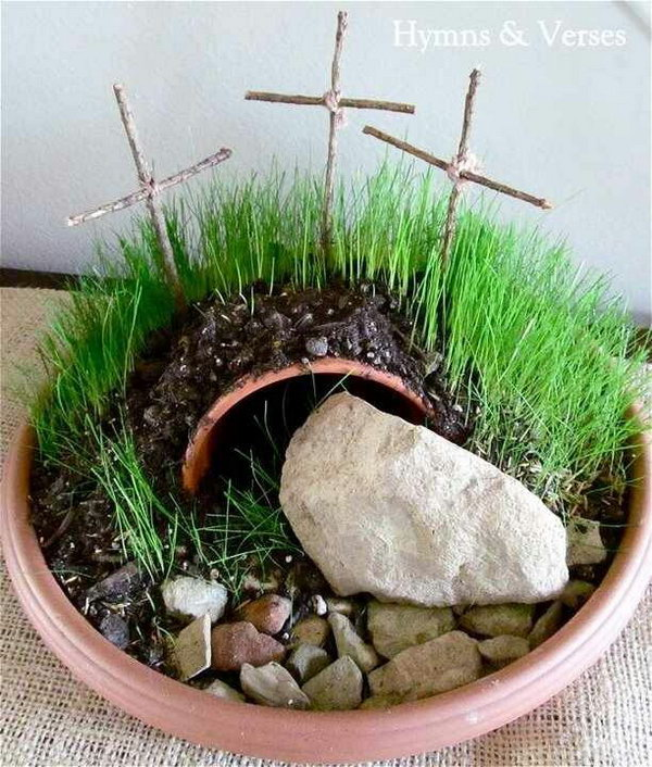 Easter Garden Craft. It would be cool to make an Easter garden with the kiddos and talk about the real meaning of Easter.