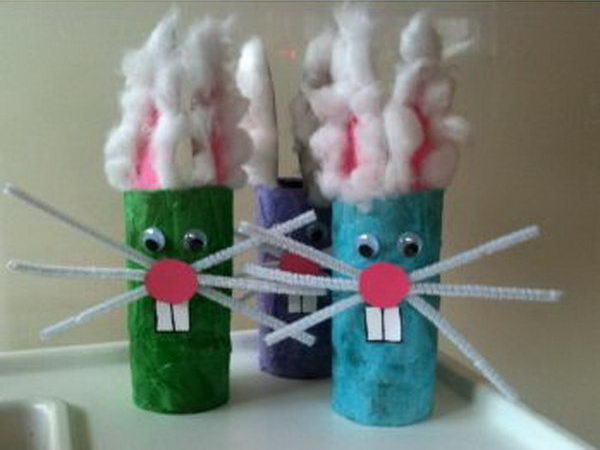 Toilet Paper Roll Easter Bunnies. Repurpose empty toilet paper rolls as funny bunnies, instead of just throwing them away.