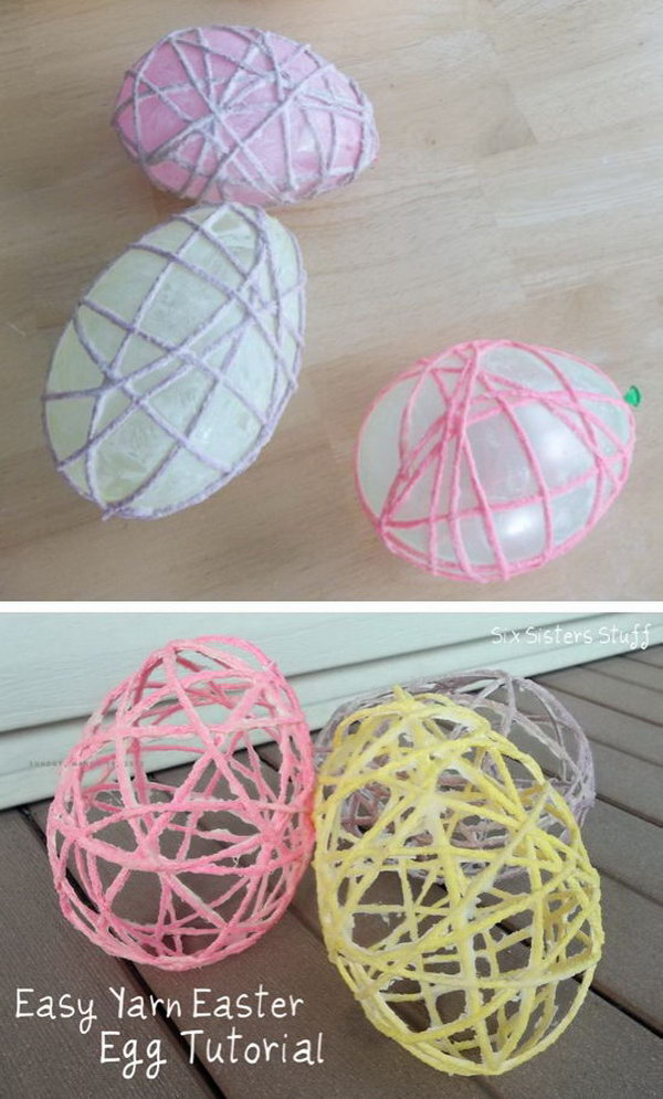 Easy Yarn Easter Egg. It is a creative Easter craft made with Mod Podge, balloon and yarn. What a cute Easter garland this would make.