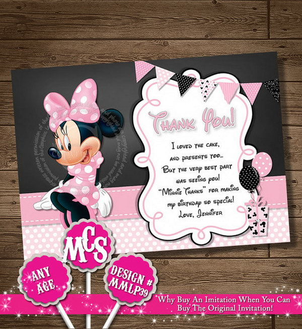 It's time to say goodbye to all your guests, try expressing your thanks with these Minnie muse personalized thank you card. They will be happy to see this it with adorable Mickey mouse head.