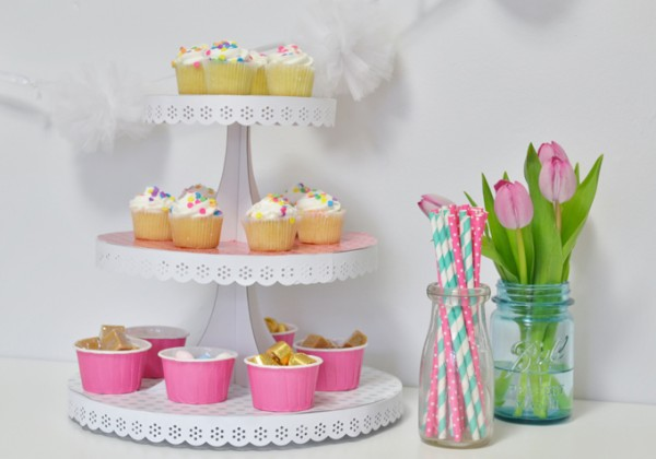 Mod Podged Cake Stand. Combine scrapbook paper with a basic cupcake stand to create this festive serving piece. Add some color and style to your Spring and Summer entertaining.