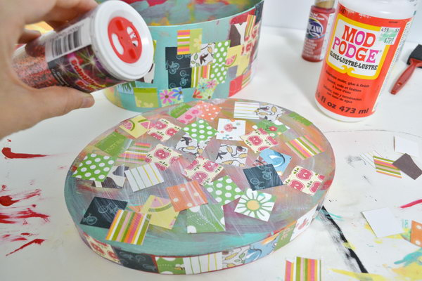Mod Podge Treasure Box. A fun and easy project to complete, which can also do the hard job of storing all your kids' treasures.