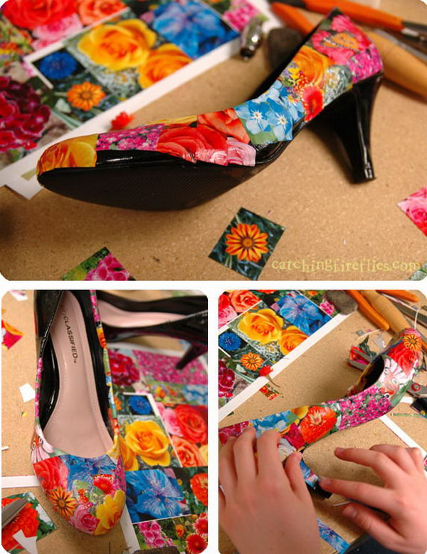 Mod Podge Shoes Project. Recover old shoes with mod podge and pictures. A fun way to customize wedding shoes.