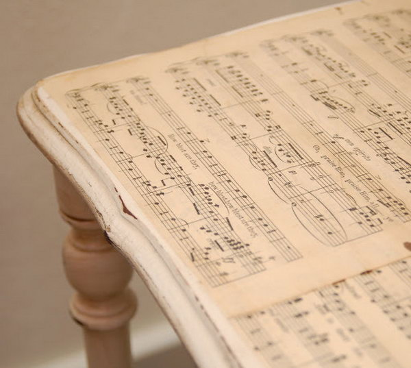 Mod Podge Side Table. Use Mod Podge to decoupage the sheet music to the table top and bottom shelf. It would be cute for a music room.