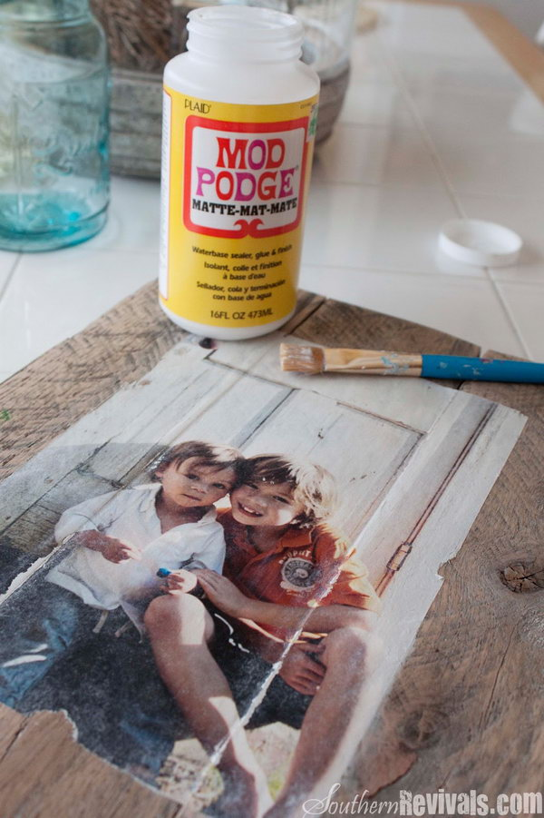 DIY Pallet Photo Frames with Mod Podge Photo Transfer. As one of the most popular decoupage glues, Mod Podge can be found in just about every crafter's utility box. It is used as a glue for decorative paper crafts and also as a sealer.