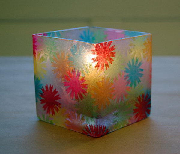 Stained Glass Candle Holder. Use colored paper and mod podge to ecorate the small glasses and make them into candle holders.