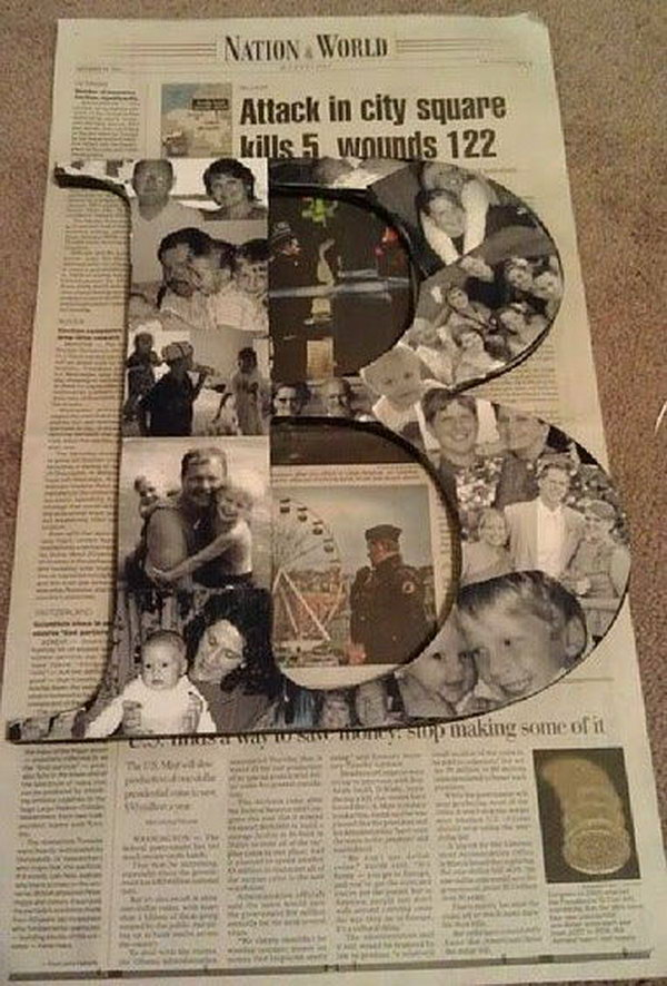 DIY Photo Collage Letters. A great way to add a unique, personal touch to your party decoration.