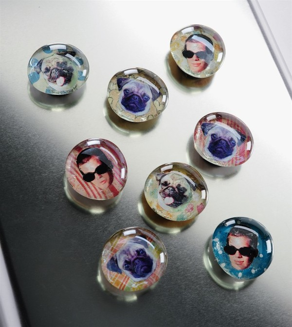 Photo Face Glass Magnets. Make glass marble magnets with your photos and Mod Podge. These make great gifts, and they can be whipped up quickly.