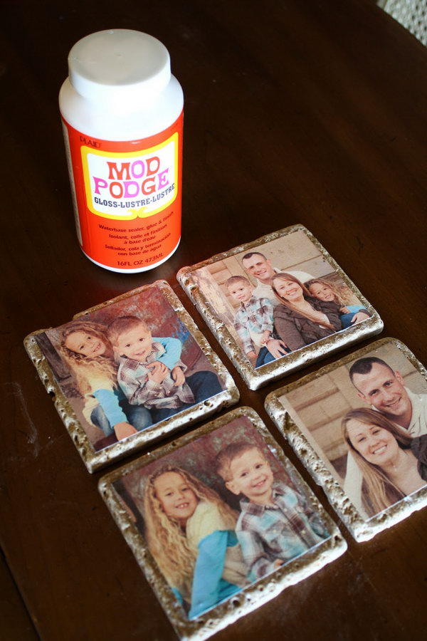 DIY Photo Tile Coasters. Transfer your photos to the stone tiles and make them into coasters. A personal and inexpensive gift idea.