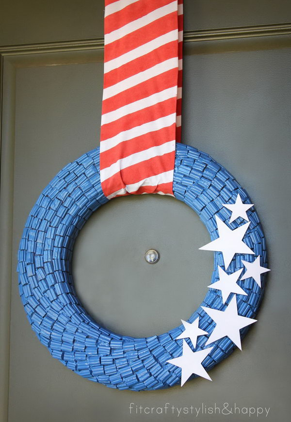 Fourth of July Candy Wreath. A fantastic patriotic decoration idea you would never thought of.