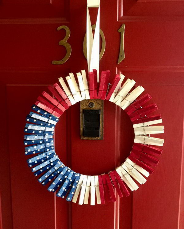 4th of July Clothespin Wreath. Great idea to make, string together and hang on the front door to display cards and stuff.