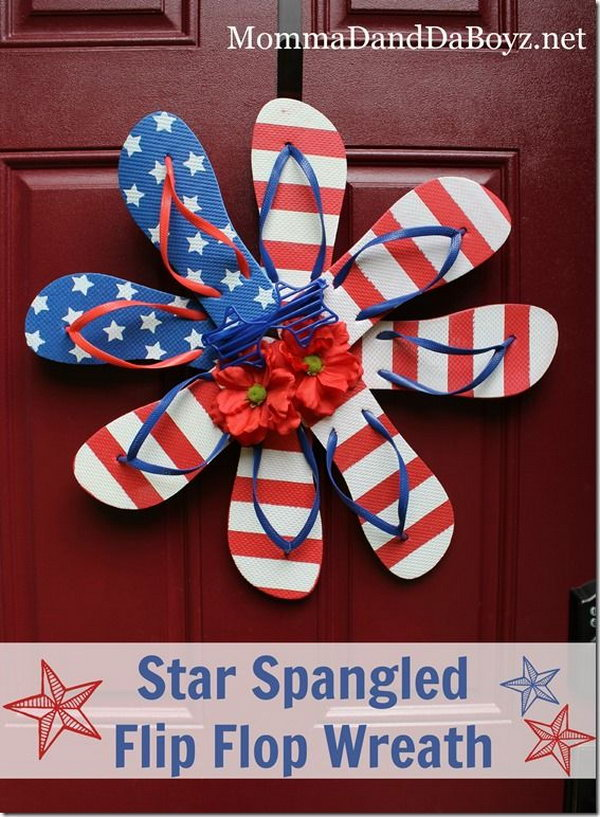 Star Spangled Flip Flop Wreath. A cute idea for patriotic holiday decor,summer door sign and party door decor.