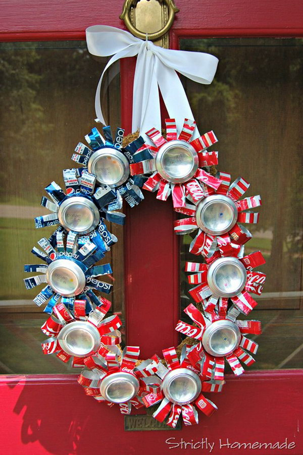 4th of July Recycled Can Wreath. A lovely wreath made from recycled soda cans. Cool idea for patriotic holiday.