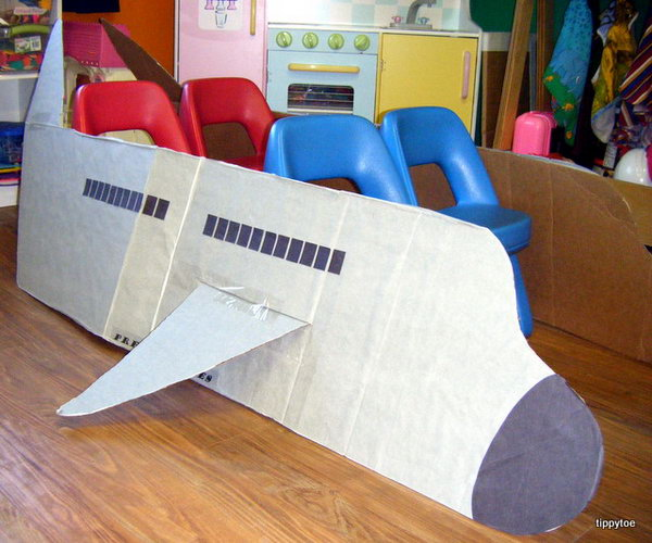 Dramatic Play Airplane. Turn your cardboard box into an airplane craft. Cool idea for transportation theme dramatic play area.