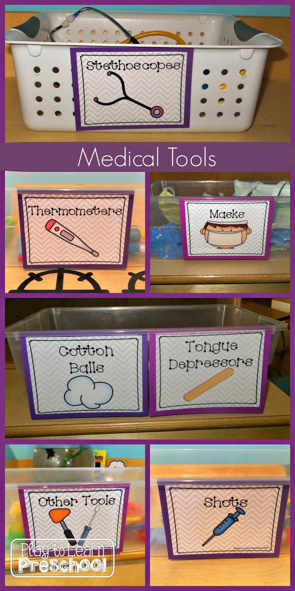 Baskets of Medical Tools for Dramatic Play Hospital Center. Kids learn so much as they negotiate their roles, discuss their health issues, use new vocabulary and interact with each other.