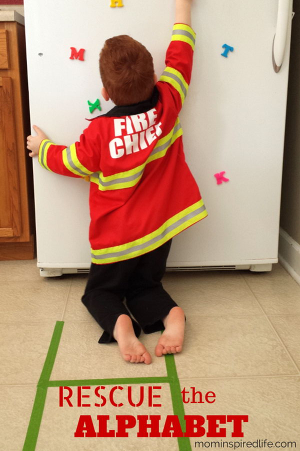 Rescue the Alphabet Game. A fun way to combine firefighter pretend play and learning. Kids will work on letter recognition, letter sounds and even gross motor skills while pretending to be a firefighter. It's a great activity for preschool community helpers theme or fire safety theme lesson plans.