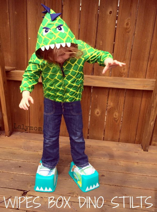 DIY Dinosaur Feet Stilts. It would be fun to make some old school stilts into cool looking dinosaur feet. Super easy and lots of roaring, stomping fun.