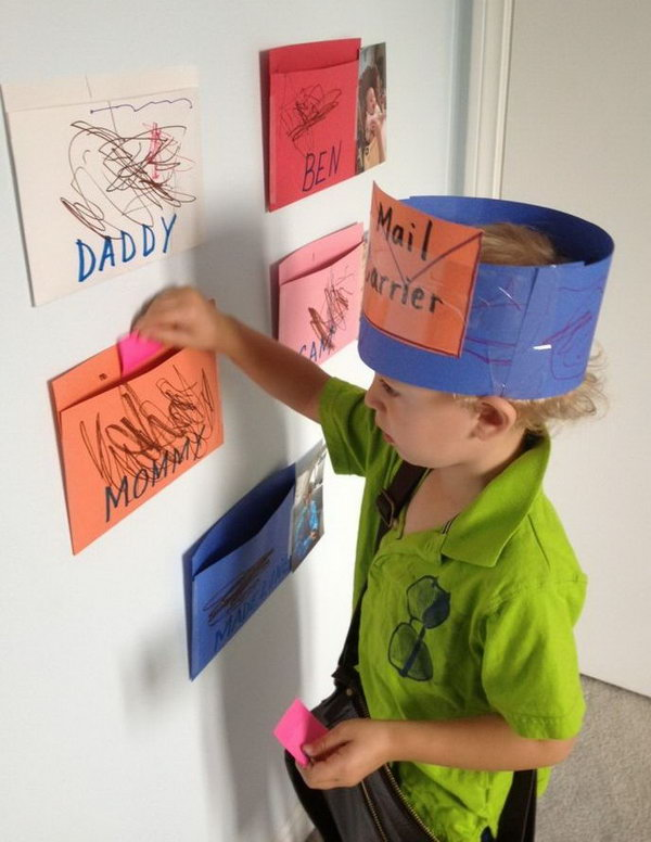 Post Office Pretend Play. Setting up a Post Office is a fun way to learn all about names, reading, and writing. It makes those reading and writing activities relate to the real life.