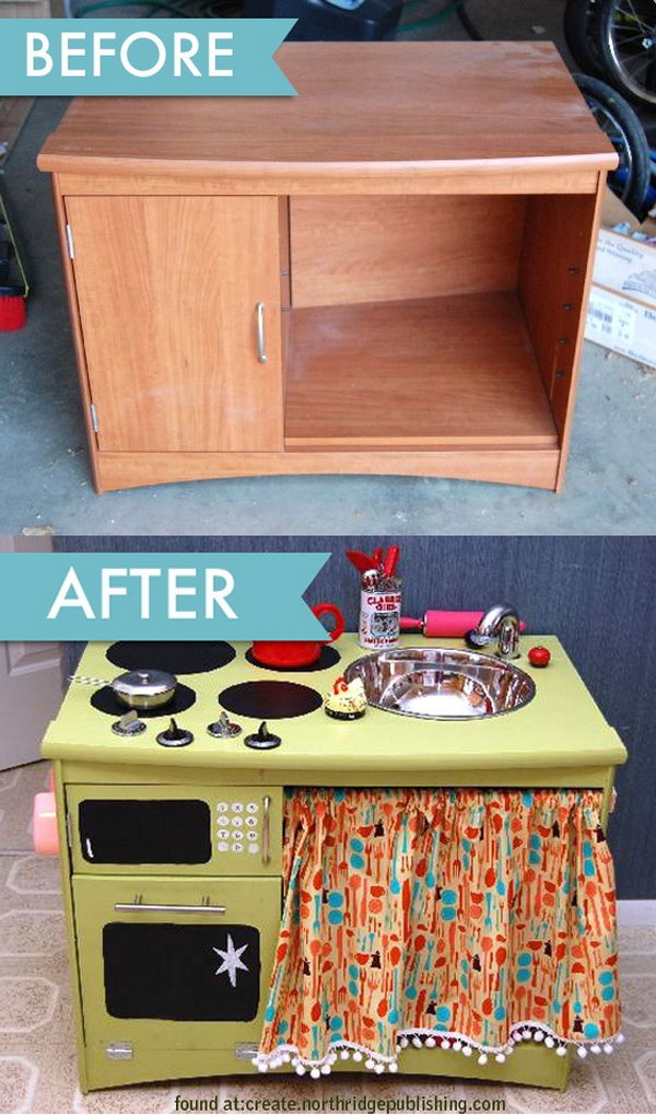 Turn an old dresser into a child's kitchen play set.