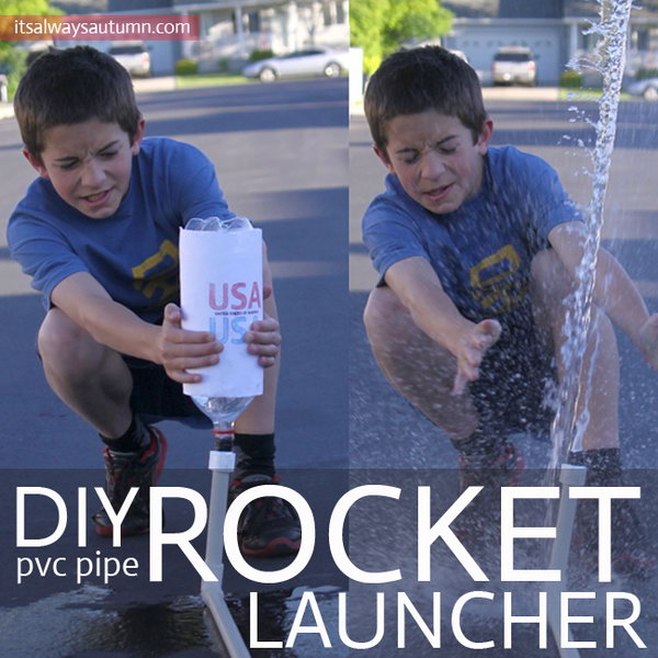 DIY PVC Pipe Rocket Launcher. With basic supplies from the hardware store, a bike pump or air compressor, and a few empty plastical bottles, you can keep your kids happy for hours launching rockets 40 or 50 feet into the air.