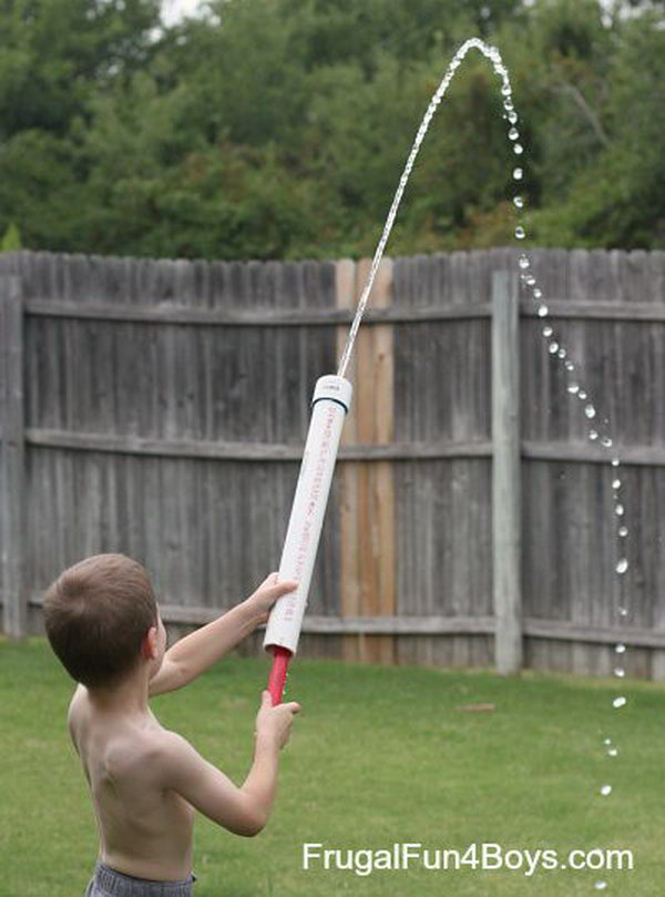 PVC Pipe Water Shooter Toy for Kids. It's simple to build and packs a lot of power. You'll definitely want to build more than one. Dad is going to love this as much the kids.