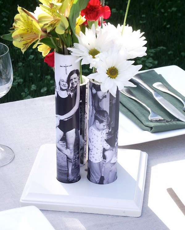 DIY PVC Pipe Vase for Mother's Day. Wrap old family photos around the PVC pipes as a gift.