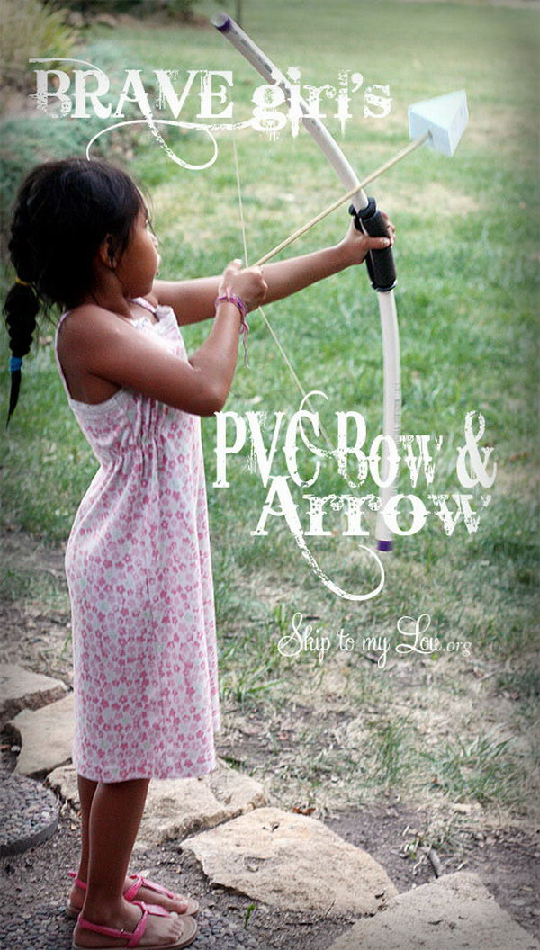 DIY PVC Pipe Bow and Arrows. The bow and arrows are super simple to make and make great party favors if you are hosting a party.