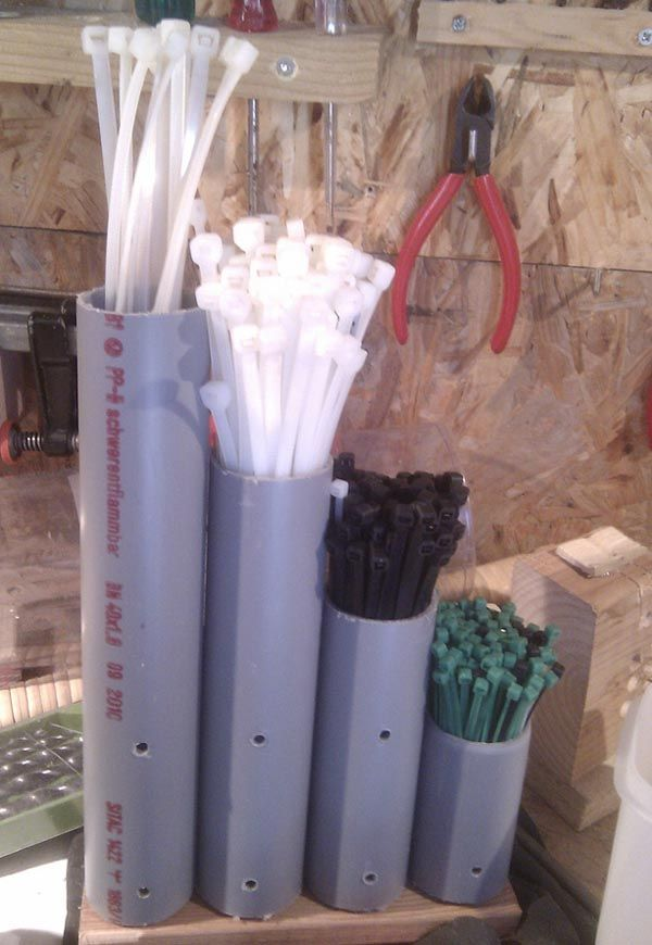 Clever Cable Tie Organizer Made from PVC Pipe.