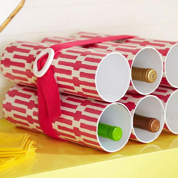 Make a stylish wine bottle rack out of PVC pipes.