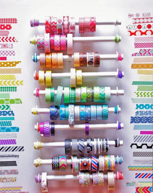 PVC Pipe Washi Tape Organizer.