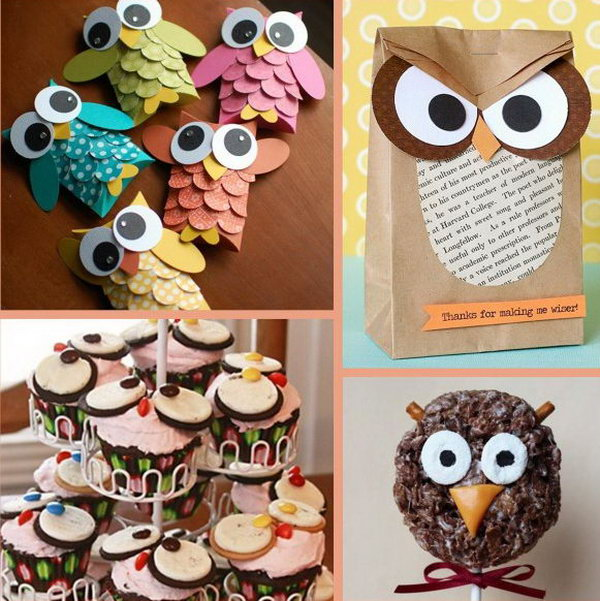 The owl theme can be chosen when your baby boy loves owl. And all the decorations are kinds of owls to further the theme, such as the owl paper bag, owl cakes, handmade paper owl decor,cute owl lollipops.
