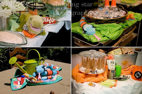 This colorful jungle exploration themed birthday party has lots of green, orange and bright colors. Every single detail was carefully planned by the designer. Really appreciate the beautiful jungle animals and the way laying add to the feeling of mystique.