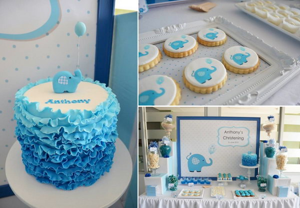 This delightful blue elephant themed party has so many fabulous ideas and cute details. I love the blue ombre ruffle cake, the oreos with elephant fondant toppers and desserts and ...well, all of it!