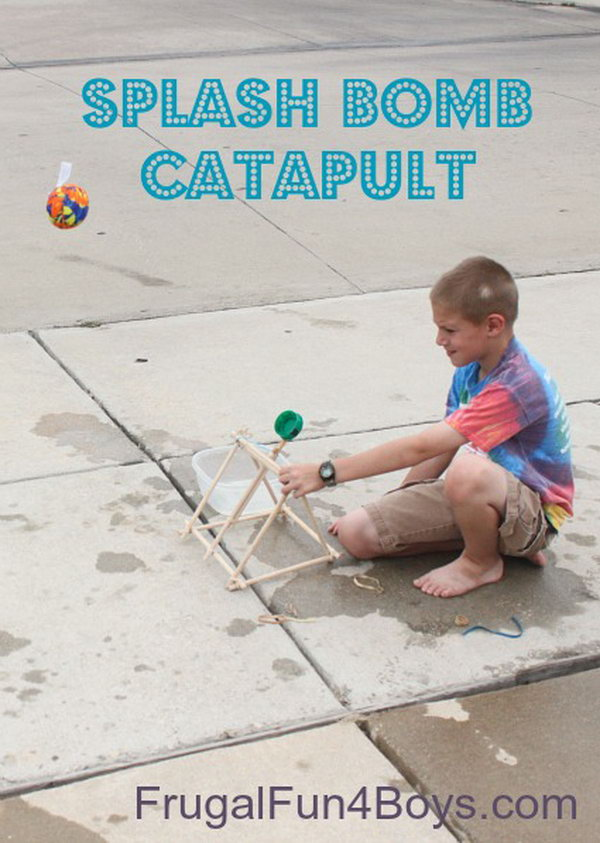 This catapult is a good weapon to shoot ping pong balls and water bombs, and it does not require special tools or a trip to the hardware store to build it. You just need some pre-cut dowel rods and rubber bands which can be found around. Learn how to make it here.