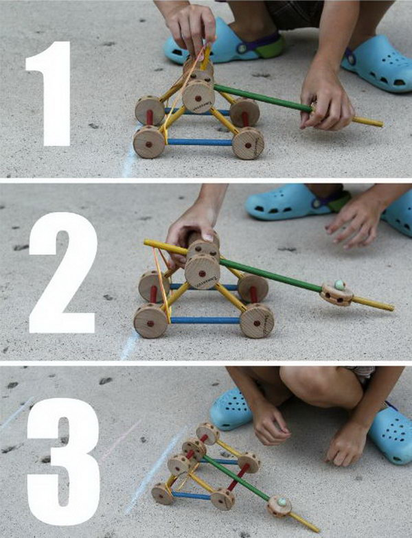 Tinker Toy Catapult. This experiment is a pretty simple construction, but your kids will benefit a lot from the skills involved, such as designing, building, working as a team, measuring, etc. Learn how to do it.