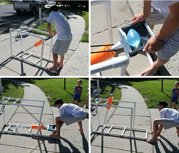 PVC Water Balloon Catapult. Put a balloon in, pull the arm down as far as possible, let it fly. Kids would have fun with this project.