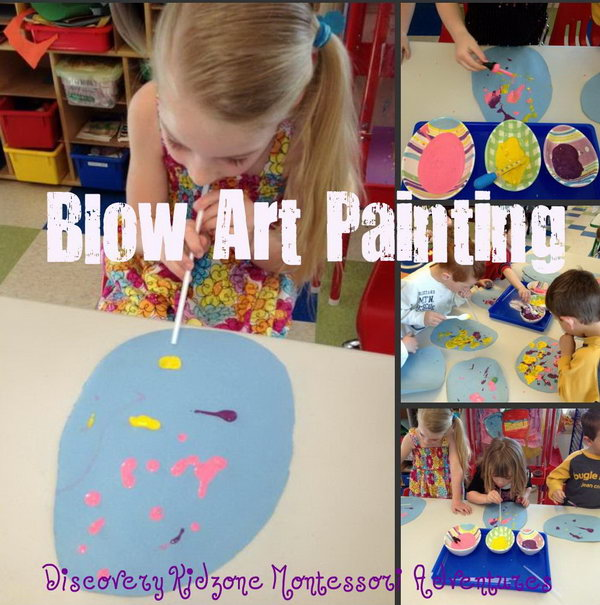 Easter Blow Art Painting. Put colorful paints into different containers. Put dabs of paint using a dropper and blow with straw all over the egg. Your kids will enjoy this busts of color creation idea.