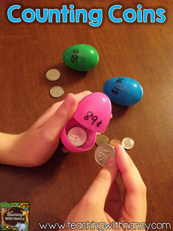 Coin Counting Easter Activity. This will give your kids plenty of practice to count the coins and match them correctly with the written amounts on these Easter eggs.